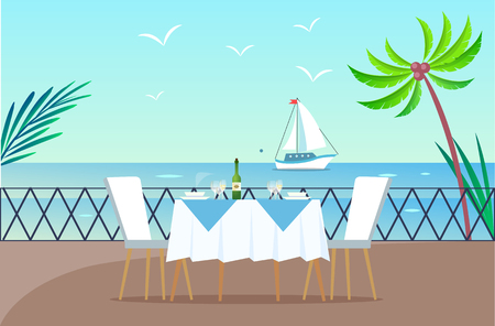 Restaurant on wooden pier vector, served table by seaside. Ship on sea, palm trees tropical atmosphere, empty bowls on desk and bottle of champagne