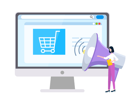 Online shopping and marketing strategies website vector. Supermarket cart and loudspeaker, businesswoman with folder, Internet page and market research