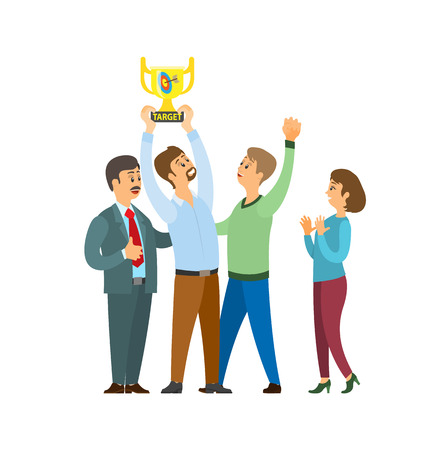 Employers and employees with trophy and target vector. People celebrating success of team, boss leader with workers. Businessman and businesswoman Illustration