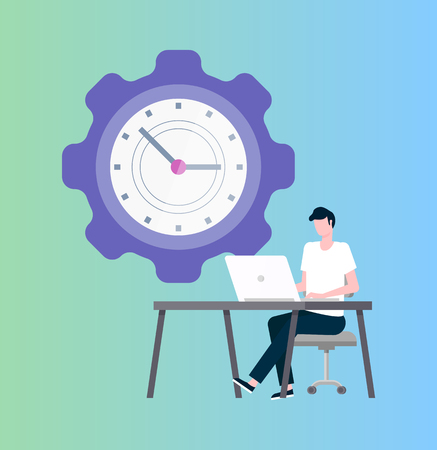 Time management vector, programmer at laptop and clock in shape of cogwheel. IT worker at desktop or workplace, deadline, work productivity or efficiency Ilustração