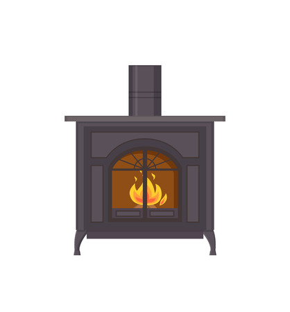 Fireplace made of metallic material isolated icon vector. Special heating system of house, indoor decoration of home adding comfortable glowing flames