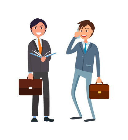 Businessman in formal wear speaking on telephone and executive worker with open book vector business people. Workers in suits, male cartoon characters Ilustração