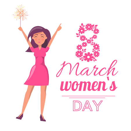 8 March International womens day greeting card. Girl with sparkler and hands up send congratulations, isolated lettering, vector eight made of flowers