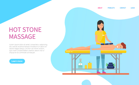 Human lying on table with hot stones and towel on back. Masseuse making massage for client. Body relaxation, treatment and healthcare website vector. Webpage template landing page in flat