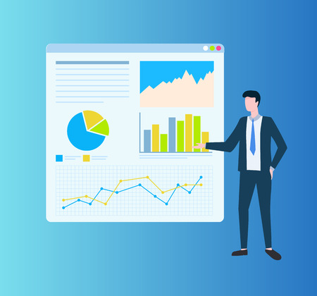 Man showing diagrams on board, growth statistics on table. Person near monitor with colorful presentation of marketing, project and strategy vector