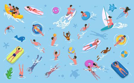Recreación de verano, hombres y mujeres nadando en el vector de agua. Chicas y chicos en trajes de baño, colchones y anillas inflables, tablas de surf y de vela, motos acuáticas