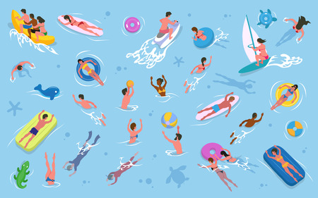 Summer recreation, men and women swimming in water vector. Girls and guys in swimsuits, inflatable mattress and rings, surfboard and sailboard, waterbike