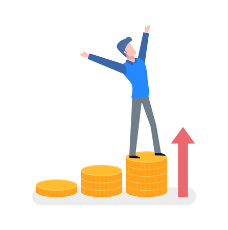 Man standing on golden coins with hands up, finance strategy. Growth arrow, human in casual clothes, portrait view, rising up steps, money progress vector