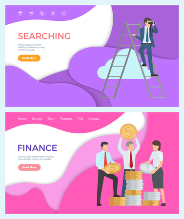Finance, optimize online content, increase website ranking and visibility. Vector searching, web development, building website by using coding language. Webpage template landing page in flat