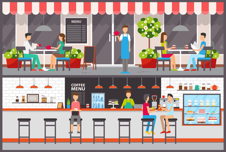 Waiter and barista, visitors in cafe or bar drinking tea or coffee, desserts in showcase vector. Interior and exterior, facade and tables, food and drinks