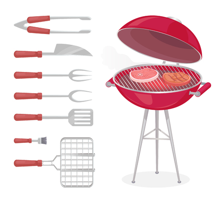 BBQ grilling meat and cooking tools isolated icons vector. Beef and pork ham steak roasting on grate. Cutlery spatula and fork knife brush and tongs