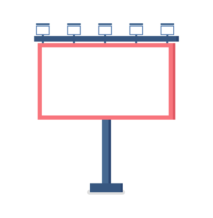 Metal construction for placement of advertisements vector. Isolated icon closeup, object to advertise, billboard with lights, advertising mass media Foto de archivo - 125202946