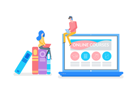 Online courses man and woman preparing for exam vector. Laptop with website and material to study, tasks and assignments for students to complete books Illustration