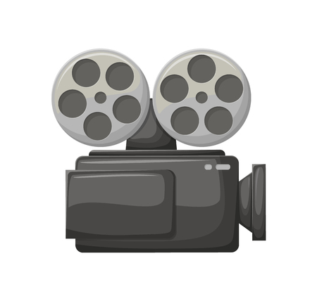 Camera for making movies vector, isolated icon of camcorder with bobbins. Cinematography, filming industry television cinematic equipments technology