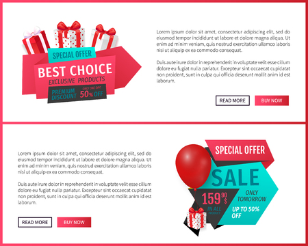 Special sale, products offer, best choice web vector. Discount on exclusive goods, presents and gift boxes, balloon. Commercial activity of shops