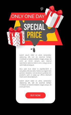 Special price promo tag with presents, black spots and gift boxes vector web site template. Emblem info about sales, super discounts advertising label