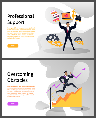Overcoming obstacles and professional support web pages vector. Business career building, businessman with books and laptop or briefcase, growth graphic