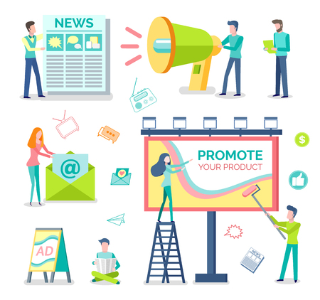 Marketologists, print adverts and outdoor advertising isolated objects vector. Newspaper and megaphone, newsletter and roadside billboard, street banners