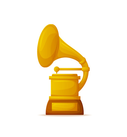 Golden gramophone award, trumpet and needle. Glossy winner trophy phonograph on white, 3D old audio player cup, musical ceremony and prize vector Illustration