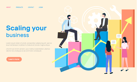 Scaling business people working in office website vector. Woman and man analyzing results from information and data about achievements and success. Webpage template landing page in flat