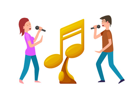 Music contest vector, gold award and contestants with Microphones giving performance. Male and female fighting for prize, note shaped musical reward