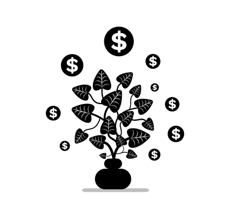 Money plant in pot, simbols coins, dollars icon on white, symbol of investment. Growing cash, leaves and sticks, bucks tree element, business vector. Black color on white background