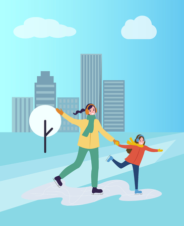 Ice skating of mother and daughter, winter hobby practicing outdoors vector. Park off city, skyscrapers and tree covered with snow. Family days time