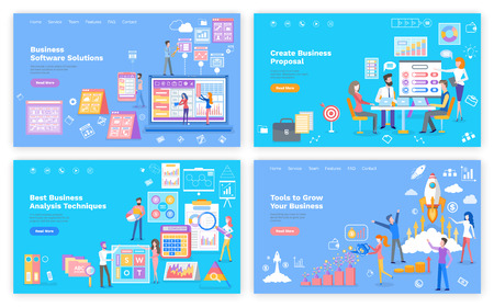 Business proposal and tools for grow, analysis techniques and software web page vector. Graphics and rocket, website template, landing page flat style Ilustracja