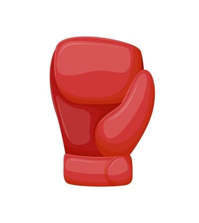Accessorio per guantoni da boxe rosso, abbigliamento sportivo e da allenamento per le braccia dei pugili. Attrezzatura sportiva verticale 3D per il combattimento con le mani, elemento per il gioco di combattimento vettore