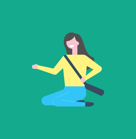 Smiling woman in yellow sweater and blue trousers, bag over shoulders vector cartoon person. Girl sitting on floor and pointing on something by hand,