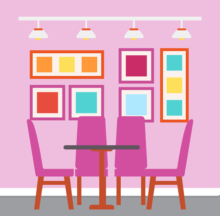 Interior of cafe with colorful design vector. Table and chairs, decoration abstract picture on walls, lamps placed on metal stick. Bright place to dinner