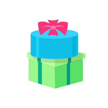 Round and square shape gifts isolated icons. Vector packages topped by bow, green and blue present boxes, surprises on Birthday party and shopping packagings  イラスト・ベクター素材