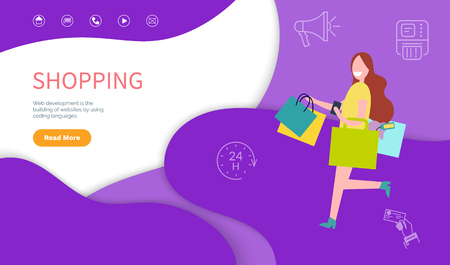Shopping template symbols and scripts for business professional site. Web development, building of website by using coding languages vector. Woman shopaholic. Webpage landing page in flat Illustration