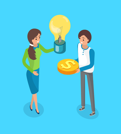 Crowdfunding concept, investors crowdsourcing and exchanging alternative finance. Woman with light bulb and golden money coin in hands of man, vector Çizim
