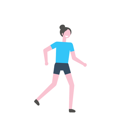 Running woman vector, healthy active lifestyle of young lady. Person wearing special sportswear, exercising energetic student. Athlete female training