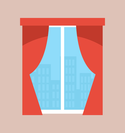 Cityscape in window with curtains vector. Red drapery, apartment decoration, elegant classic style of indoor interior . City with tall town skyscrapers