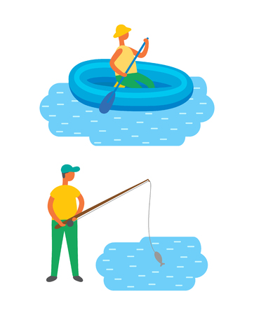 Male fishing in lake, swimming in river at inflatable boat. Vector isolated fisher catching fish, man with fishery rod on rest, fishermans hobby sport activity 向量圖像