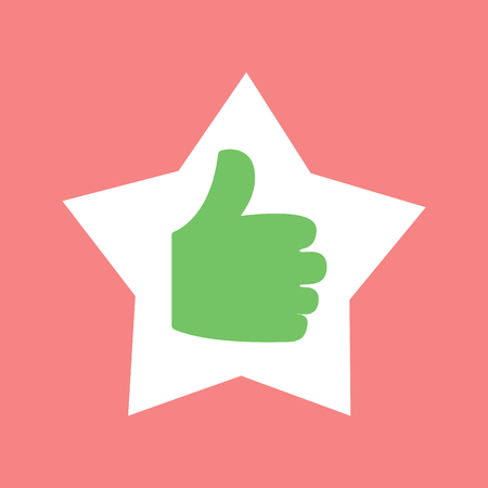 Thumb up in star shaped frame vector, gesturing hand with fingers isolated icon. Like symbol positive approvement and success, excellent accept sign