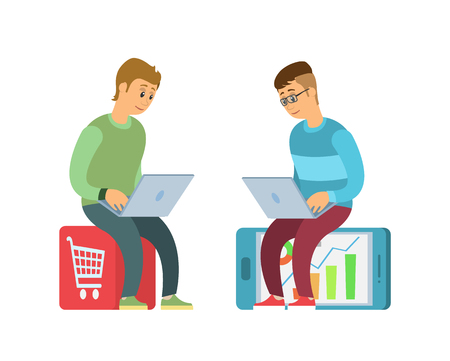 Shopping online vector, purchases on websites in internet. Ecommerce, people sitting on trolley and smartphone, using laptops to make orders in stores