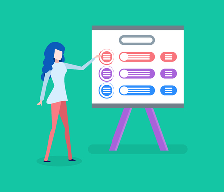 Scheme and business plan, businesswoman with presentation vector. Woman showing marketing strategies, entrepreneur and work analysis on board or screen