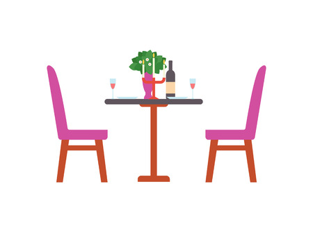 Served romantic table with bottle of wine, chandelier with burning candles, flower bouquet, plates and glasses. Vector diningtable, cafe or restaurant furniture Foto de archivo - 125202982