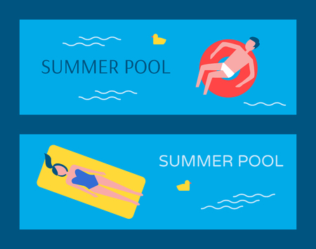 Summer swimming pool posters set vector. Man sitting in lifebuoy, woman on mattress. Chicken plastic toy decoration in basin water, people on vacation Ilustrace