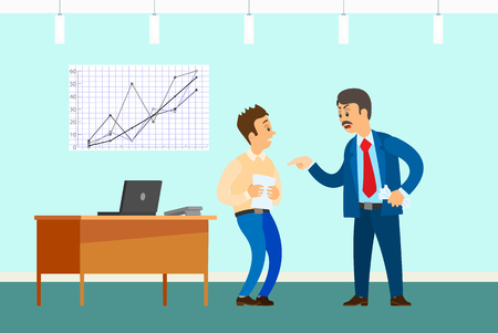 Bad job, angry boss and irresponsible employee. Wrong statistical report or paperwork, rebuke in office with desktop and graphic vector illustration.