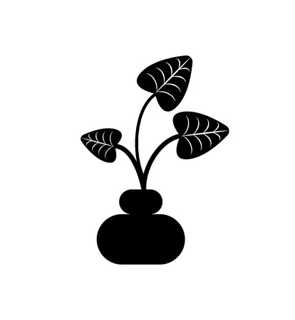 Leaves of plant in pot vector, isolated icon of houseplant with foliage. Growing botanical frondage with stable, potted decorative element, herbal nature. Black color on white background