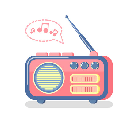 Radio for information broadcasting vector. Isolated icon of device with antenna for info and entertaining purposes, music and sounds, notes waves Vecteurs