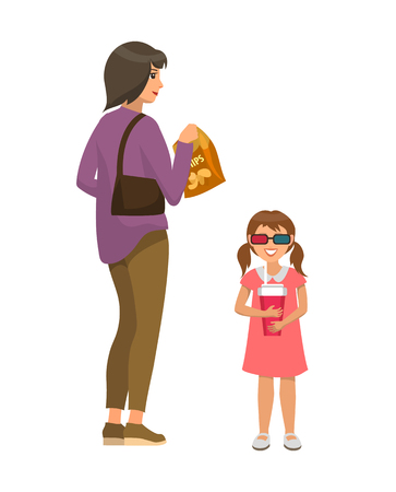 Woman with young daughter going to watch movies vector. Film theatre visiting, woman holding handbag and kid wearing 3d glasses holding drink soda Banque d'images - 125202995