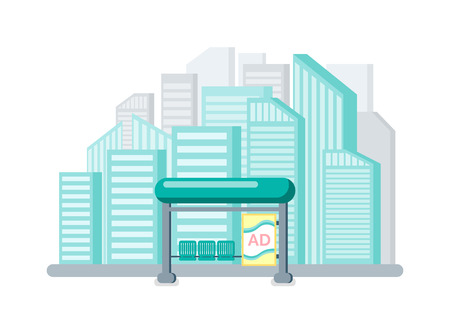 Bus stop with advertisement on billboard vector. City with high buildings and skyscrapers, town infrastructure station for public transport placard