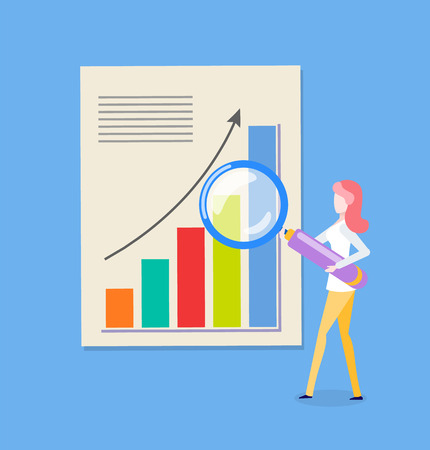 Woman reserching diagram, chart with rising up arrow. Female holding magnifier, growth pointer on slide. Person with loupe near statistics page vector Illustration