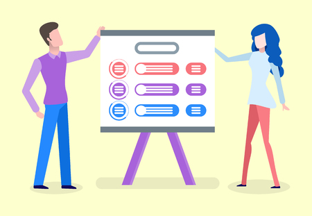 Man and woman standing near board, people showing colorful table. Panel construction, people holding billboard, presentation with icons flat vector Ilustração