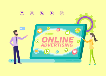 Advertisement online in internet vector. People dealing with promotion and digital marketing, chatting icon and likes from social media, announcement  イラスト・ベクター素材